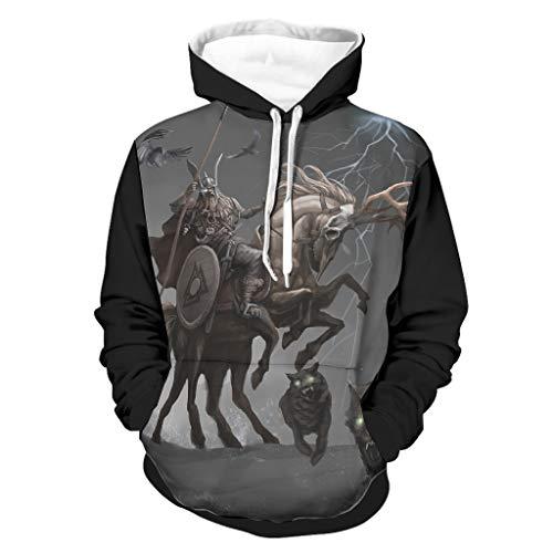 Sudadera vikinga Odin guerrero, cuervo lobo con estampado de flash. Divertida sudadera de manga larga para hombre con bolsillos blanco S