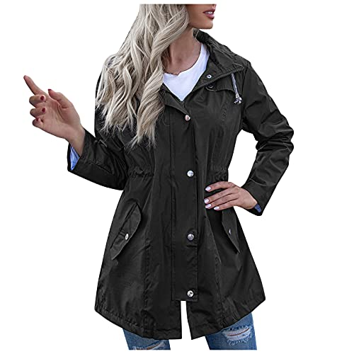 TDEOK Chubasquero largo con capucha para mujer, con cremallera, Negro , XL