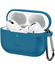 ESR etui ochronne do etui Airpods Pro, torba do noszenia z brelokiem do AirPods Pro 2019, widoczna przednia dioda LED, obsługuje bezprzewodowe ładowanie, amortyzujące wstrząsy silikonowe etui, miękka smukła skóra - niebieska