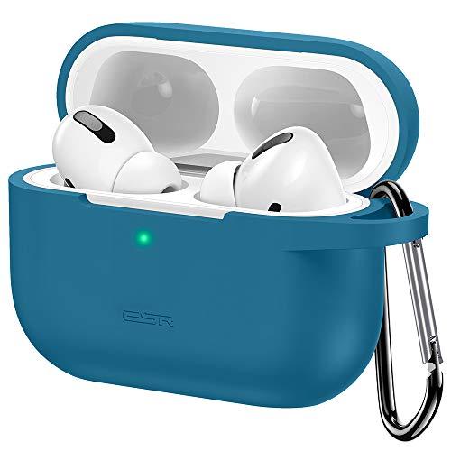 Capa protetora ESR para Airpods Pro, capa de transporte rebatível com chaveiro para AirPods Pro 2019, LED frontal visível, suporta carregamento sem fio, capa de silicone para absorção de choques, pele macia e fina - azul