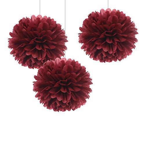 WEVEN 12' Burgundy Tissue Pom Poms DIY Hanging Paper Flower Balls for Bridal Shower Birthday Party Wedding Backdrop Dessert Table Decoration Supplies, Pack of 12