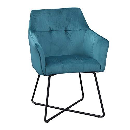 DuNord Design stoel eetkamerstoel turquoise met armleuningen industrieel design keukenstoel beklede stoel