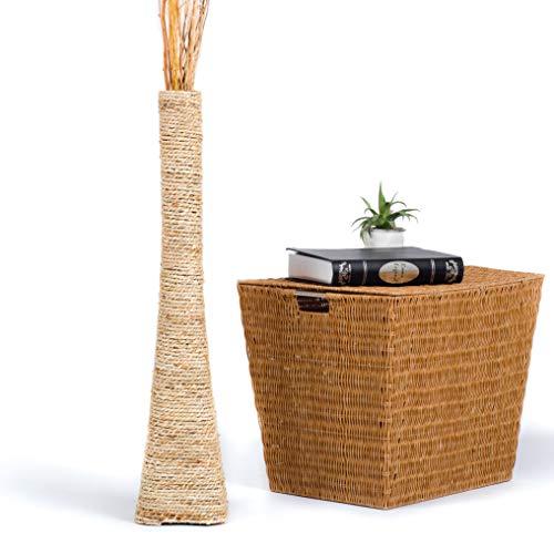 Leewadee jarrón de Suelo Grande – Florero Alto y Hecho a Mano de Madera exótica y Rafia, Recipiente de pie para Ramas Decorativas, 75 cm, Color Natural