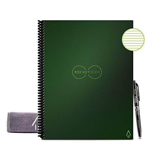 Rocketbook Quaderno Smart – Cancellabile, Riutilizzabile – Compatibile con Sistemi Cloud – Taccuino Digitale - Penna Pilot Frixion e Panno Inclusi (Terrestrial Verde, Letter A5, Foderato)