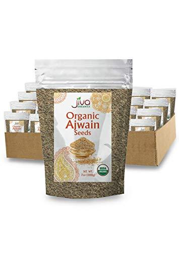 Jiva Organics Organic Ajwain Seeds 7 ounce Bag - Whole Carom Seed, Ajamo, 100% Natural & Non-GMO (Pack of 24)