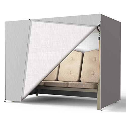 Copertura per dondolo da giardino a 3 posti, copertura per amaca da giardino con fibbie, impermeabile, antivento, resistente, antistrappo 420D Oxford per mobili (grigio)