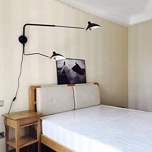 Vintage Wandlamp Met 1,8 M Kabel Industrial Metal Wandlamp Verstelbare Rotary Room Leeslamp Bedside Wandlamp Dual Head Light Lamp,Metallic