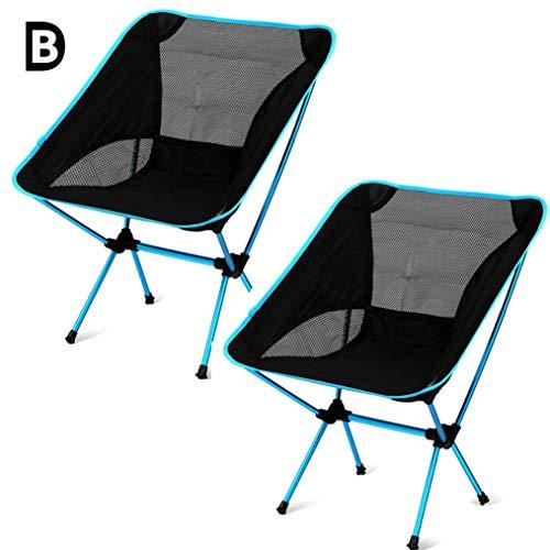 B-D Chaises De Camping Chaise De Jardin Légère Portable Pliant Siège Extérieur avec Poches De Rangement, Randonnée Pique-Nique, Peut Contenir Jusqu'à 100 Kg, Lot De 2,Royal Blue