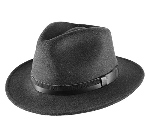 Classic Italy - Chapeau Fedora Pliable imperméable Feutre - 6 Coloris - Homme Classic Traveller III - Taille 54 cm - Anthracite