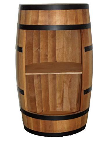Weinfass Stehtisch - Mini Bar Regal Rund - Alkohol Shrank Flaschenregal Holz Regale - Holzfass Deko - Hausbar Theke - Fassmöbel - Wine Rack - Möbel Wohnzimmer - Fassbar minibar 80Cm High(Eiche)