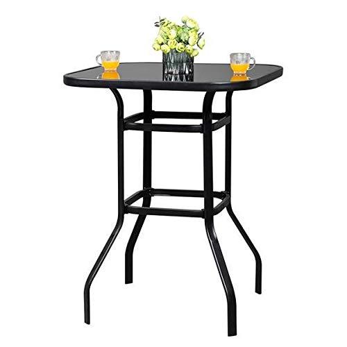 dmsc Lsyx-us Wrought Iron Glass High Bar Table Patio Bar Table Black.