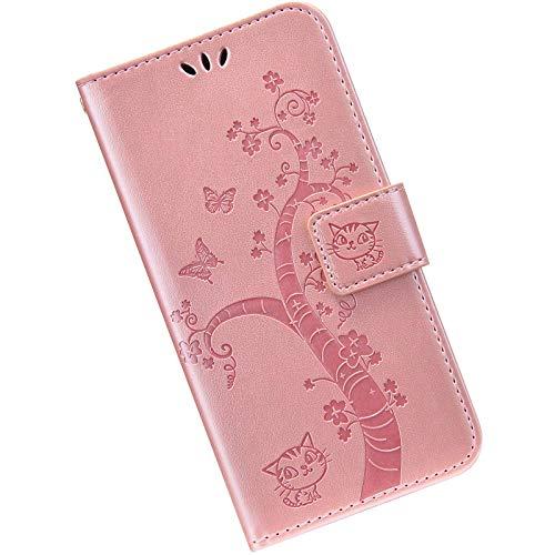 Kompatibel mit Huawei P Smart 2020 Handyhülle Lederhülle Flip Case,Retro Katze Schmetterling Muster Schutzhülle mit Kartenfächer Handschlaufe Wallet Tasche Case Brieftasche Klapphülle,Rose gold