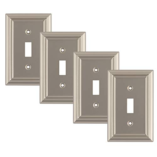 Pack of 4 Wall Plate Outlet Switch Covers by SleekLighting   Decorative Satin Nickel   Variety of Styles: Decorator/Duplex/Toggle / & Combo   Size: 1 Gang Toggle