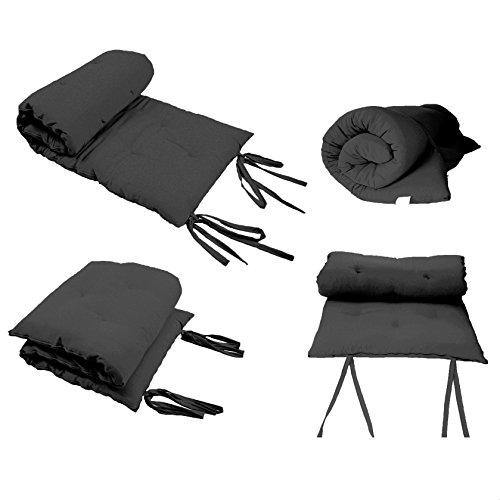 Queen Size Black Guest Bed Rolling Mattresses Comfort Floor Mat Pad 3 Inch