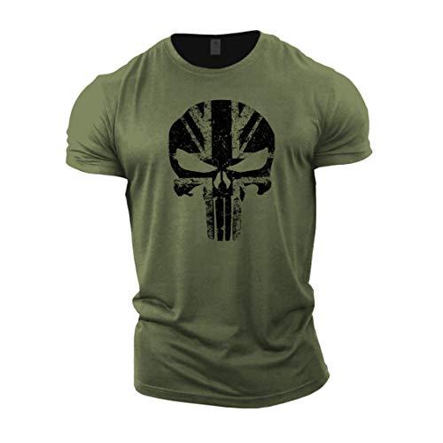 Gymtier, Bodybuilding-T-Shirt für Herren – Schädel mit UK-Flagge – Trainings-Top Gr. M, grün