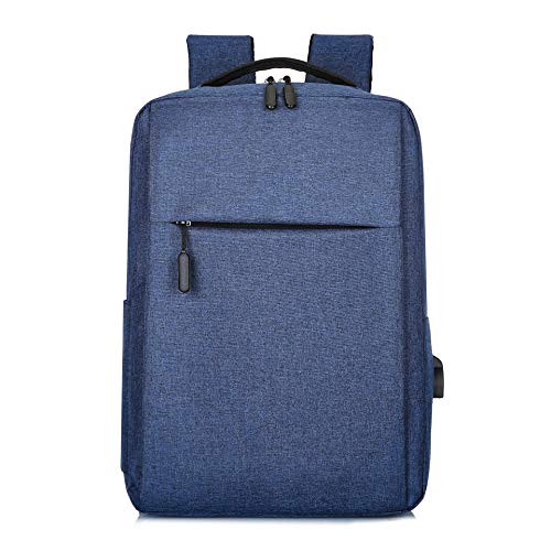 Shoulder Bag Casual Fashion Trend Backpack Computer USB Charging Simple Business Man Bag Student Bags Computer Backpack (Color : Blue)