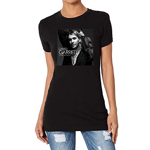 TANGLIII Damen/Women's Vintage David Garrett Classic Romance Black Short Sleeve T-Shirt Top Tee