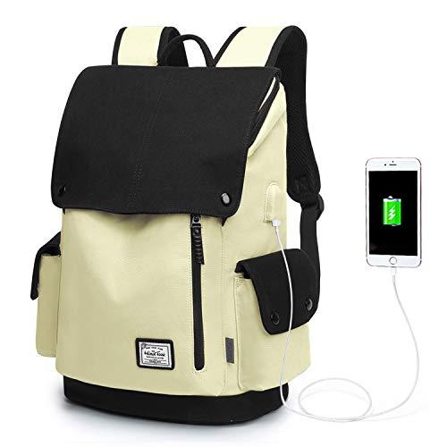 Wind Took Canvas Backpack Daypack 15 Zoll Laptop Rucksack Schulrucksack Tagesrucksack mit USB Anschluss für Uni Büro Alltag Freizeit, Beige