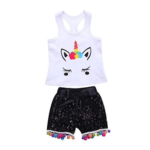 Baby Meisjes Eenhoorn Vest T-Shirt Tops+ Bow Knot Shinny Pailletten Shorts Broek Outfits 2 STKS