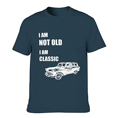 Camiseta de algodón para hombre, diseño con texto 'I Am Not Old I Am Classic' azul marino XXXL