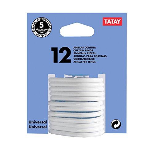 TATAY 5570001 - Ganchos para cortina de ducha, pack de 12 unidades, Plástico polipropileno, Color blanco, 6 x 4 x 0.5 cm