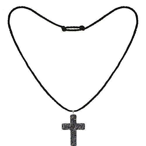 Tresor Paris Grey Crystal Cross 31x40 Pendant & Black Cord Necklace 020277
