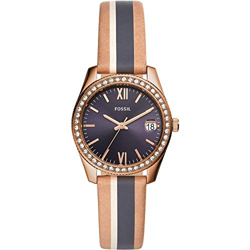 Fossil Damen Analog Quarz Uhr mit Leder Armband ES4594