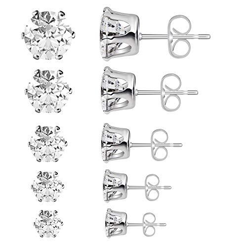 Sterling Silver Stud Earrings Spectacular Cubic Zirconia Set by Poplar