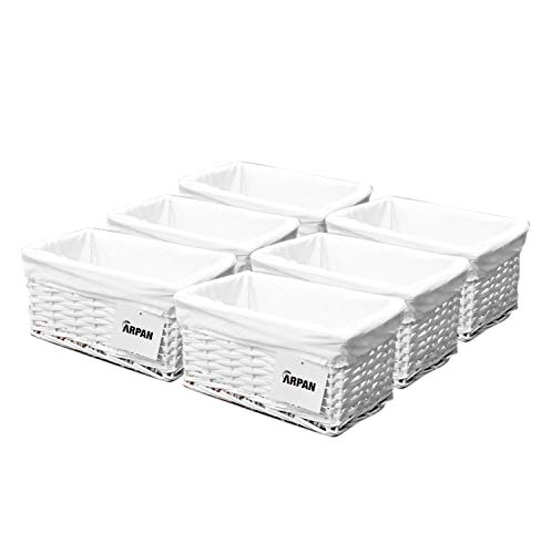 ARPAN White Wicker Basket Kids Bedroom Bathroom Living Room Kitchen With White Lining, for All Occasions Pack of 6 (W29xD18xH14cm Approx)