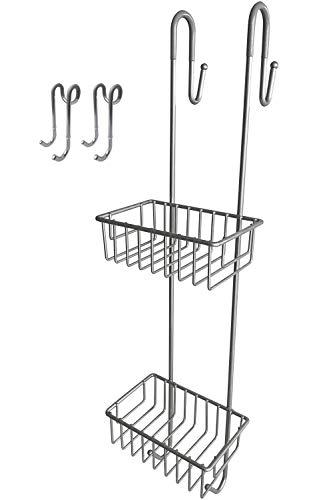 Bamodi Duschregal zum Hängen - Duschablage ohne Bohren als Set inklusive 2 Duschhaken - Rutschfester Duschkorb zum Einhängen - Mattgrau (70 cm)
