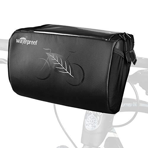 WOTOW Fahrrad Lenkertasche, wasserdichter Fahrrad Lenker Frontrahmen Aufbewahrungskorb mit reflektierenden Mustern und transparentem wasserabweisendem Touchscreen-Handyhalter für Rennrad-MTB, 3L