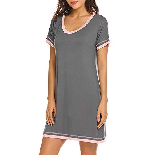 Zando Sleep Shirts for Women Soft Nightgowns Cute Pajamas Short Sleeve Sleepwear Lounger House Dresses Pink Grey M (fits US 8-10)