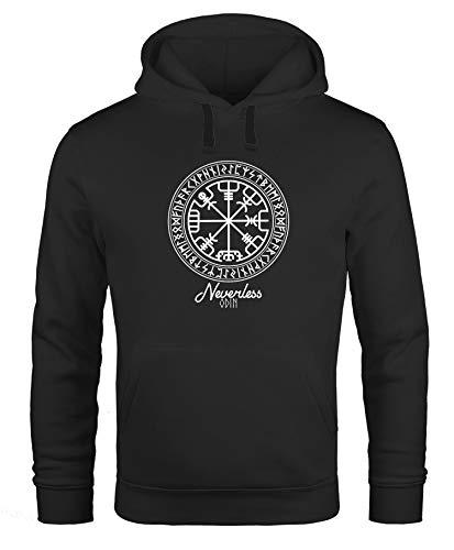 Neverless Hoodie Herren Wikinger Symbol Runen Wegweiser Kapuzen-Pullover Männer schwarz XXL