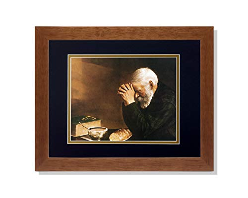 Art Prints Inc Daily Bread Man Praying at Table Grace Religious B/G Matted Picture Honey Framed