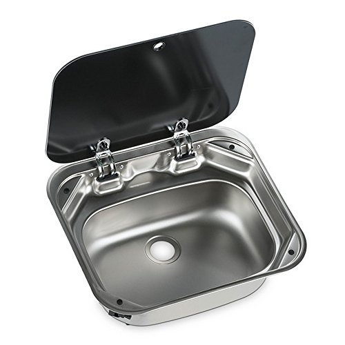 Dometic zwart glas deksel vierkant caravan wastafel (één maat) (zilver)
