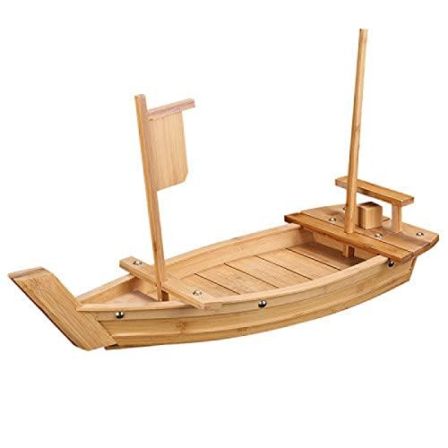 AMZYY Vassoio Sushi in Legno Sashimi Boat, Piatto Sashimi Barca Ghiaccio Secco Stoviglie Sushi Cucina Giapponese Barca Sushi Legno Strumento di bambù per Sushi