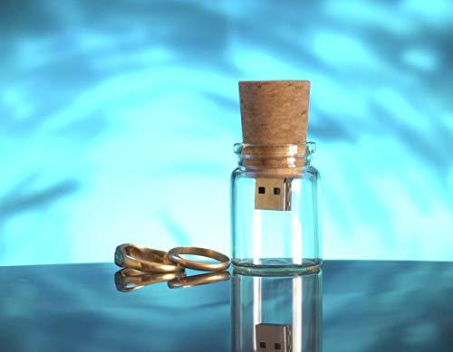 USB Botella De Cristal (16 GB) Botella de Cristal con Corcho para Fotógrafos USB para Bodas Pendrive para fotógrafos Memoria USB para Bodas, Comuniones, Bautizos y entregas Fotográficas.