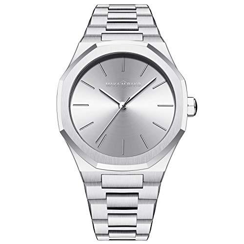 Damen Uhren Analog Quarz Edelstahl Mesh Armband Wasserdicht Minimalistische Ultradünne Lässige Mode Geschäftsuhr,Silber
