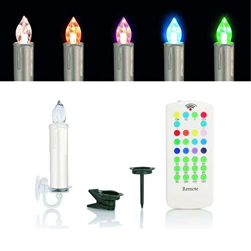 Kabellose LED Weihnachtskerzen mit Fernbedienung, Dimmer, Timer und wahlweise Warmweiß oder Farbwechsel - OUTDOOR geeignet - Weihnachtsbaumbeleuchtung (15er Set Creme)
