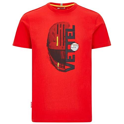 Scuderia Ferrari Offizielle Formel 1 Merchandise 2020 - Sebastian Vettel T-Shirt Herren - Rot - Baumwolle - S