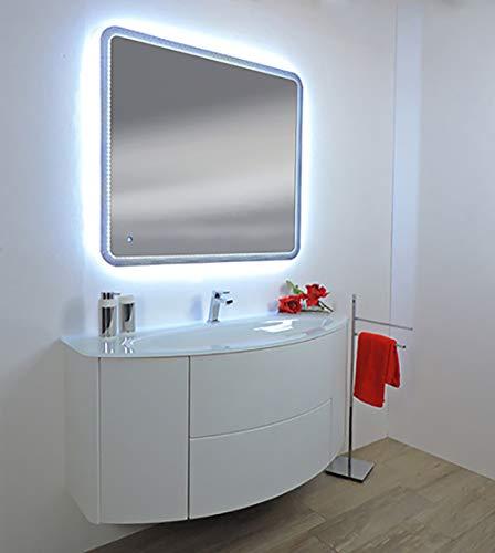 Mobile bagno sospeso Eden touch bianco,cm 90,lavabo cristal senza specchio a led