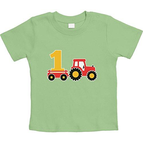 Shirtgeil 1 Jahr Geburtstag Junge Geschenk Traktor Bagger Unisex Baby T-Shirt Gr. 66-93 3-6 Monate / 66 Limettengrün