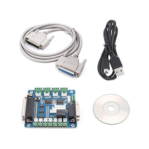 FATTERYU - Adaptador de interfaz de placa para motor paso a paso + cable USB DB25 5 ejes CNC Breakout