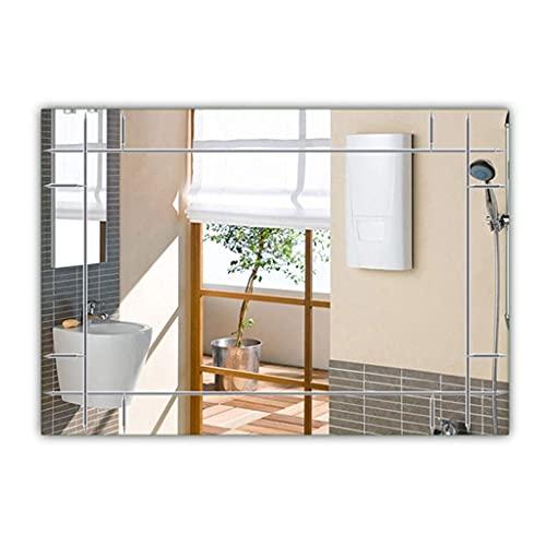 Accesorios para sala de estar Espejo de baño montado en la pared Vidrio sin marco HD Espejo plateado Rectángulo moderno Espejo de pared grande para maquillaje Tocador Sala de estar Gimnasio Pasillo