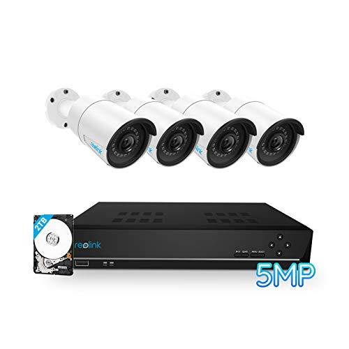 Reolink 8CH 5MP Überwachungskamera Set Aussen mit 4X 5MP PoE IP Wasserfeste Kamera und 4K 2TB HDD NVR Überwachungssystem für Haus, Innen, Outdoor Sicherheit, 30 Meter Nachtsicht, RLK8-410B4-5MP