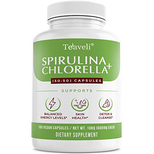 Organic Spirulina & Cracked Cell Chlorella Chlorophyll Capsules- Supports Healthy Immune System & Energy Boost- Blue Green Algae Supplement & Super Greens Powder - 3X More/Serving-180 Caps