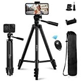 """QI-EU Phone Tripod, 51""""Extendable Lightweight Aluminum Tripod Stand for iPhone with Universal Phone Mount & Remote Shutter, Travel Tripod Compatible with Gopro/DSLR Camera for Selfie/Viedo Recording"""