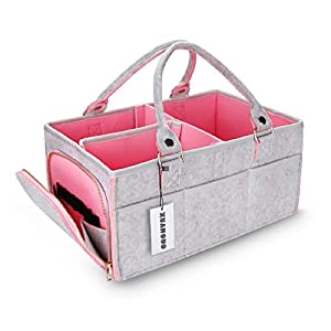 """Large portable diaper caddy organizer for changing table: Our diaper storage basket size is16""""X10""""X7"""" Larger than most of diaper storage caddy for infant on the market. Our foldable caddy organizer for nursery Made of 1/6 inch (4mm)Environmentally fr..."""