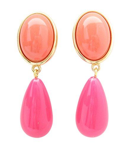 Leichte sehr große Ohrstecker Ohrringe vergoldet Stein korall-rot Anhänger pink tropfen-förmig Designer JUSTWIN Geburtstag Fest Party edel