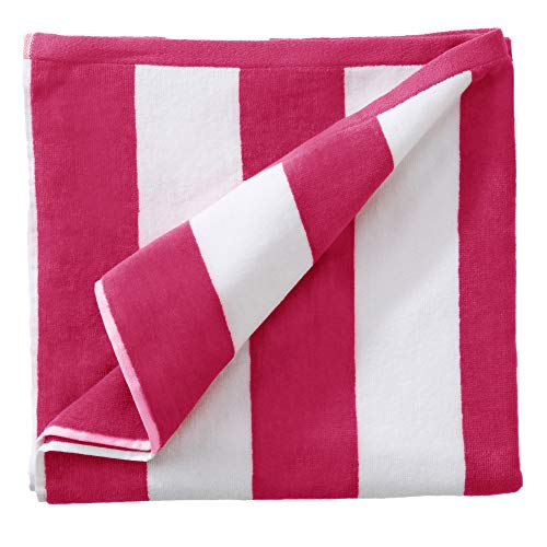 """Oversized Plush Velour 100% Cotton Beach Towel. Cabana Stripe Pool Towel for Adults. (Bright Pink, 40"""" x 70"""")"""